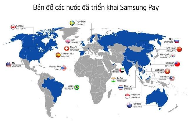 Việt Nam cùng với các nước phát triển đang được triển khai Samsung Pay