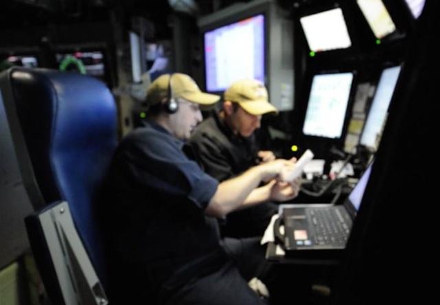 Khu vực điều khiển bánh lái của tàu USS Indiana.