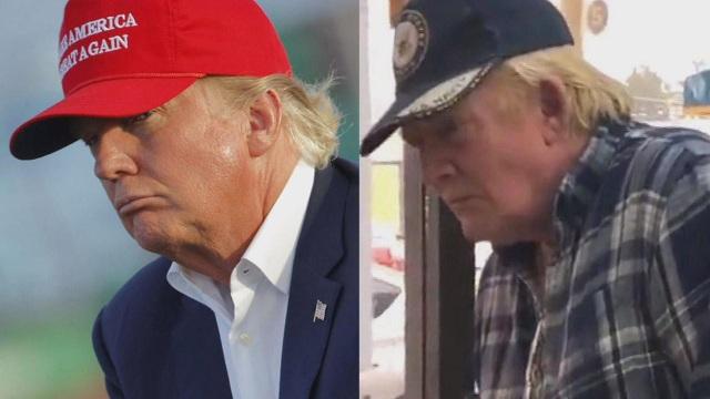Tổng thống Donald Trump (trái) và một người đàn ông có ngoại hình được cho là giống nhà lãnh đạo Mỹ. (Ảnh: NBC)