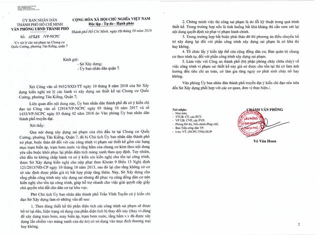 Văn phòng UBND TPHCM vừa ký ban hành văn bản truyền đạt ý kiến chỉ đạo của Phó Chủ tịch UBND TP làm rõ các sai phạm tại chung cư Quốc Cường Gia Lai