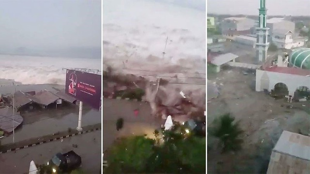 Sóng thần tràn vào Palu sau trận động đất mạnh 7,4 độ Richter chiều 28-9. Ảnh: AP