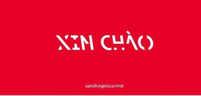 Chữ XIN CHÀO viết bằng phông chữ Sans Forgetica.