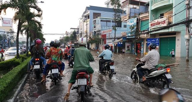 Đường Mậu Thân, một con đường lớn trong nội ô TP Cần Thơ bị ngập rất nặng