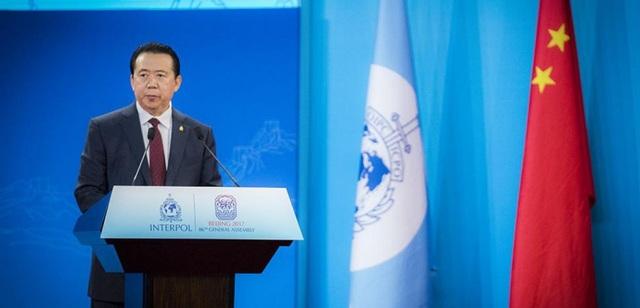 Ông Mạnh Hoành Vĩ phát biểu khi còn là chủ tịch Interpol (Ảnh: Getty)