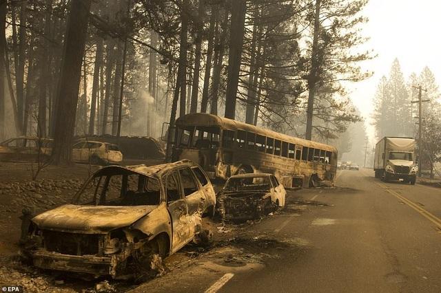 Các phương tiện cháy rụi và trơ trọi người dân bỏ lại trên đường khi chạy khỏi đám cháy (Ảnh: EPA)