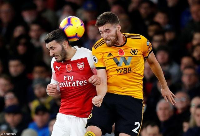 Hàng thủ Arsenal đã thi đấu rất chệch choạc trước sự quyết tâm của Wolves