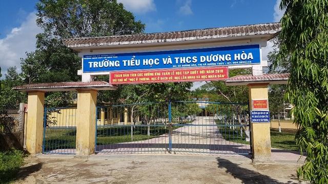 Trường Tiểu học & THCS Dương Hòa nơi ông Nguyễn Xuân Hợp làm Hiệu trưởng. Ông Hợp đã mượn tiền cả tỷ đồng rồi bỏ trốn.