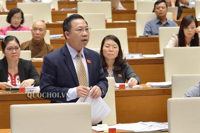 Đại biểu Lưu Bình Nhưỡng đoàn Bến Tre phát biểu tại hội trường