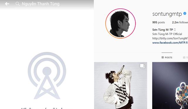Trang cá nhân của Sơn Tùng cũng biến mất nhưng tài khoản Instagram của nam ca sĩ vẫn hoạt động bình thường.