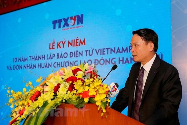 Ông Nguyễn Đức Lợi - Ủy viên Ban chấp hành Trung ương Đảng, Tổng Giám đốc Thông tấn xã Việt Nam phát biểu tại lễ kỷ niệm 10 năm thành lập Báo Điện tử VietnamPlus. (Ảnh: Minh Sơn/Vietnam+)