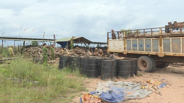 Cơ quan chức năng kiểm đếm số gỗ lậu tại lò than trái phép