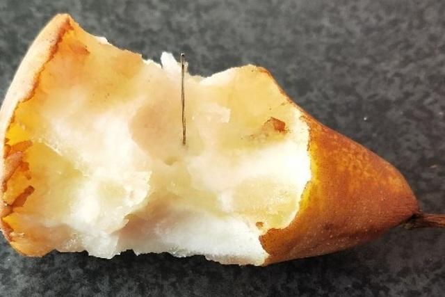 Kim khâu được cắm trong quả lê. (Ảnh: ABC)
