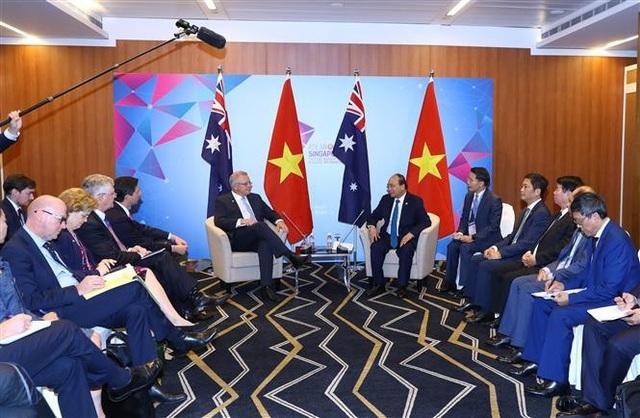 Trong chương trình tham dự Hội nghị Cấp cao ASEAN lần thứ 33 và các hội nghị cấp cao liên quan tại Singapore, chiều 14/11/2018, Thủ tướng Nguyễn Xuân Phúc gặp Thủ tướng Australia Scott Morrison. Ảnh: Thống Nhất – TTXVN