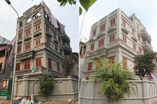 Hiện trạng ngôi biệt thự 5 tầng của gia đình ông Nguyễn Thanh Hóa trước (bên trái) và sau 8 tháng nhận tự tháo dỡ.