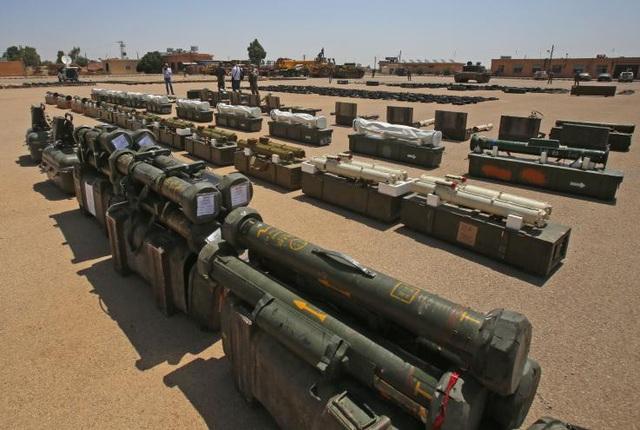Vũ khí do Phương Tây sản xuất mà quân đội Syria đã thu giữ ở Daraa hồi tháng 7 từ tay các lực lượng đối lập (Ảnh: AFP)