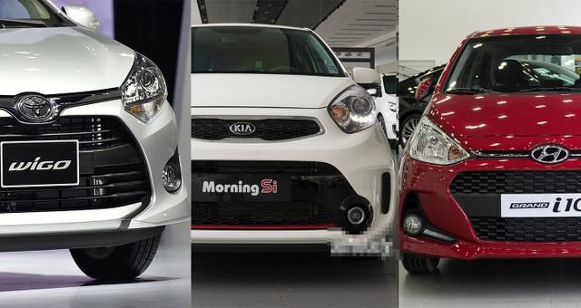 Bộ ba xe nhỏ Toyota Wigo, Kia Morning và Hyundai i10 đang phân bề cao thấp tại Việt Nam.