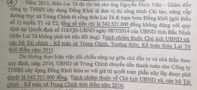 Kết luận chỉ rõ sai phạm của ông Quyết khi chi đạo thôn Lai Tê đối ứng cho nhà thầu xây dựng 342 triệu đồng không đúng qui định