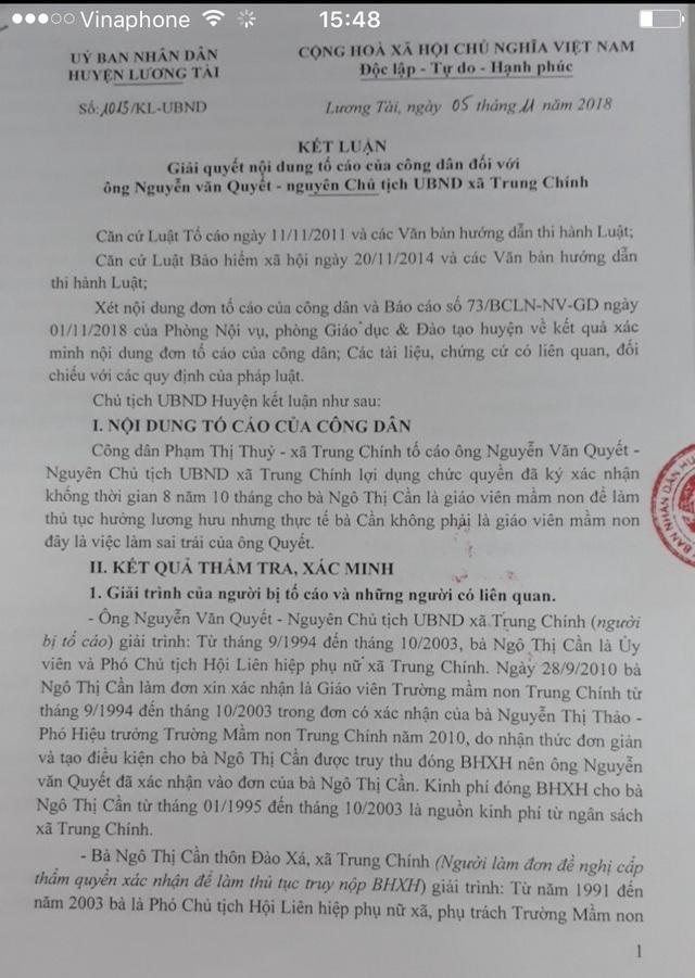 Kết luận của UBND huyện Lương Tài về sai phạm của ông Nguyễn Văn Quyết về việc xác nhận khống và lấy tiền ngân sách truy đóng bảo hiểm cho bà Cần-nguyên Phó Chủ tịch Hội phụ nữ xã