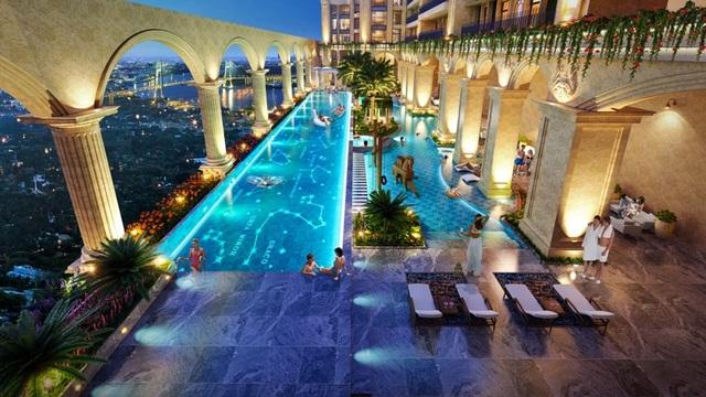 Hồ bơi nước mặn rộng tới hơn 1000 m2 đầu tiên tại Quận 2 cùng 3000m2 tiện ích xung quanh hồ bơi đã thực sự biến Rome by Diamond trở thành thiên đường nghỉ dưỡng cho cư dân.