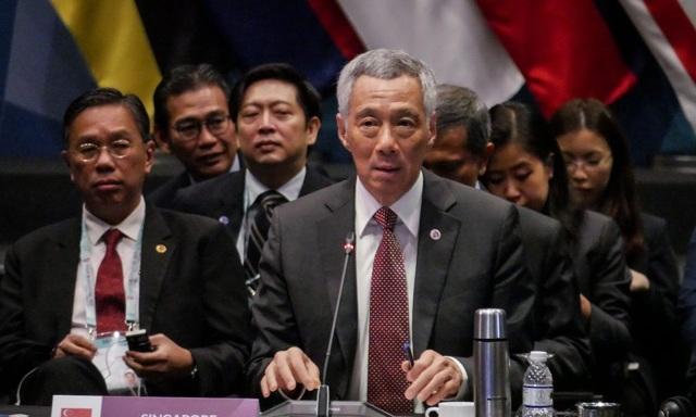 Thủ tướng Lý Hiển Long phát biểu tại hội nghị ASEAN - Mỹ tại Singapore ngày 15/11. (Ảnh: AFP)