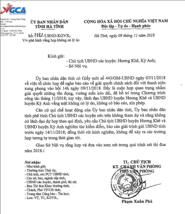 Hai chủ tịch huyện bị yêu cầu giải trình vì không đi họp