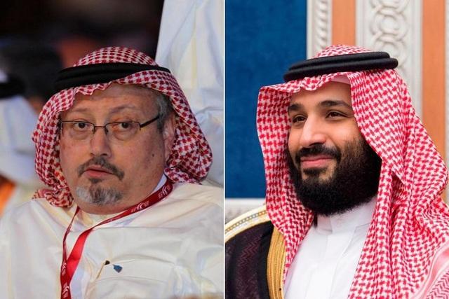 Thái tử Mohammed bin Salman (phải) và nhà báo Khashoggi (Ảnh: EPA, AFP)