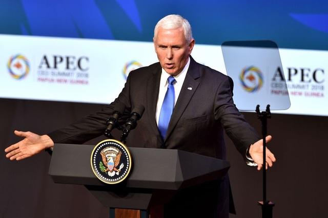 Phó Tổng thống Mỹ Mike Pence phát biểu tại hội nghị APEC ngày 17/11. (Ảnh: AFP)