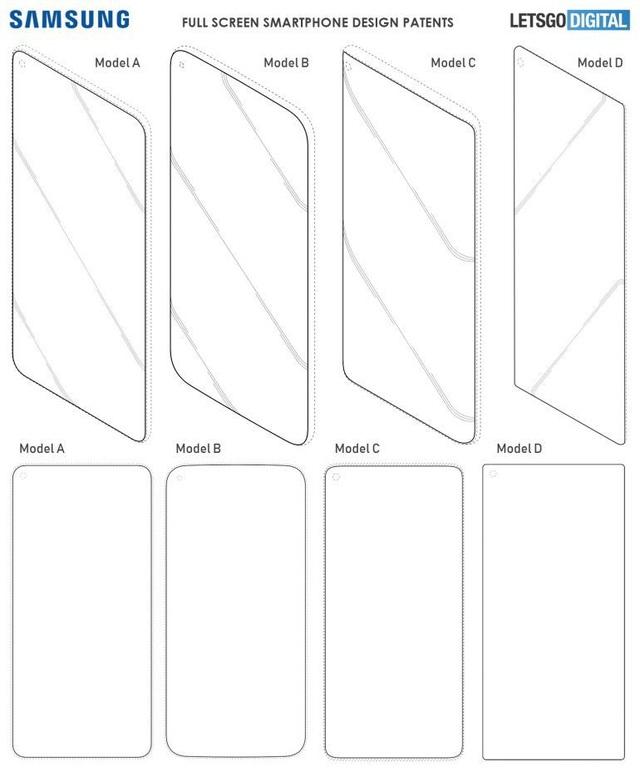 Một số kiểu thiết kế smartphone được Samsung đăng ký bản quyền sáng chế, với mặt trước chỉ chừa lại một lỗ nhỏ cho camera