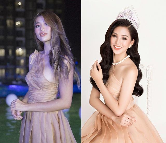 Có thể thấy, khi đụng hàng với hoa hậu Việt Nam 2018, người mẫu Quỳnh Châu trông gợi cảm hơn khi cô sở hữu vòng 1 đầy đặn.