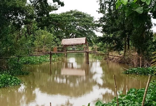 Khu nhà nghỉ của thầy giáo Quốc Phong nằm bên một con rạch ở phường Tân Qui Đông, TP Sa Đéc.