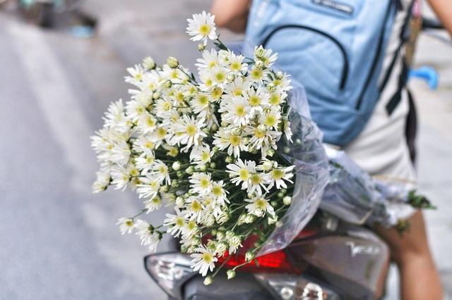 Hình ảnh những bó cúc nhỏ được chở sau yên xe vào giờ tan tầm khiến cho mùa đông Hà Nội trở nên dịu dàng hơn.
