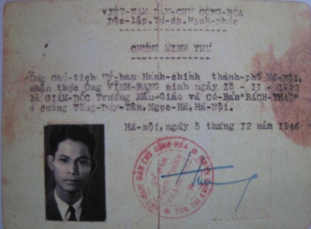 Chứng minh thư năm 1946 của GS Nguyễn Phước Vĩnh Bang xác nhận ông là Giám đốc Trường mẫu giáo Bách Thảo
