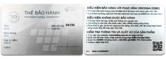 Thẻ bảo hành chính hãng