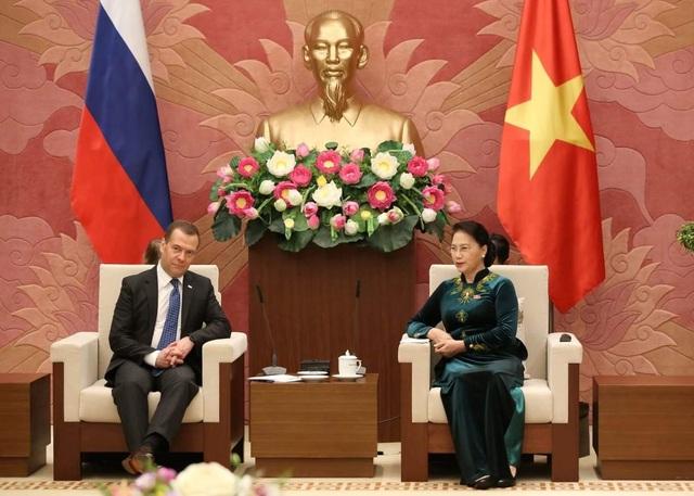 Chủ tịch Quốc hội Nguyễn Thị Kim Ngân tiếp Thủ tướng Nga Dmitry Medvedev (ảnh: Hữu Nghị)