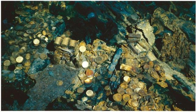 Những đồng tiền vàng của con tàu S.S. Central America được tìm thấy dưới đáy biển. (Nguồn: pcgs.com)