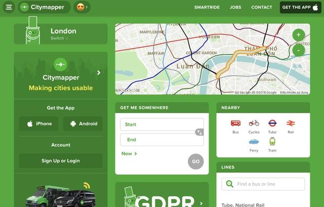 Dịch vụ đặt xe buýt City Mapper tại Anh.