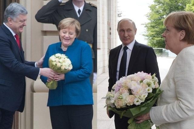 Tổng thống Ukraina Petro Poroshenko (trái) tặng Thủ tướng Đức Angela Merkel bó hoa giống hệt của Tổng thống Nga Vladimir Putin. Ảnh: Sputnik
