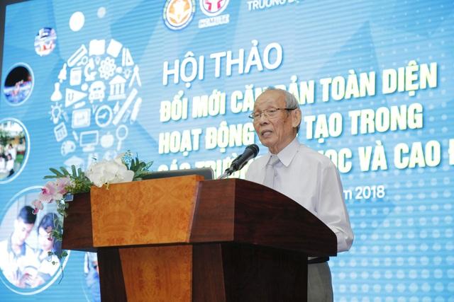 GS Trần Hồng Quân, Chủ tịch Hiệp hội các trường đại học, cao đẳng Việt Nam phát biểu mở đầu hội thảo ngày 2/11
