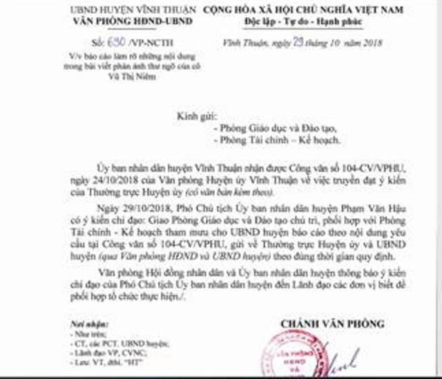 Sau khi cô Vũ Thị Niệm có thư ngỏ gửi đến cơ quan chức năng về vụ việc, UBND huyện Vĩnh Thuận có công văn chỉ đạo Phòng Giáo dục và Đào tạo cùng Phòng Tài chính - Kết hoạch báo cáo vụ việc