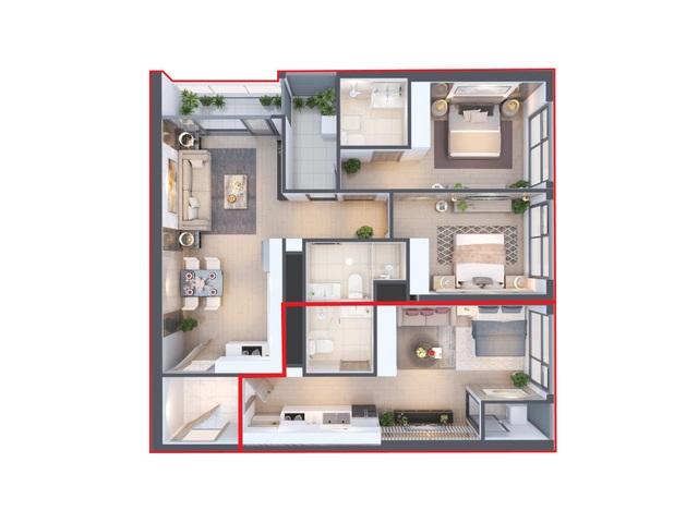 Căn hộ hai chìa khóa loại 2 phòng ngủ tại tòa West 1 - Vinhomes West Point (Hình ảnh mang tính minh họa)
