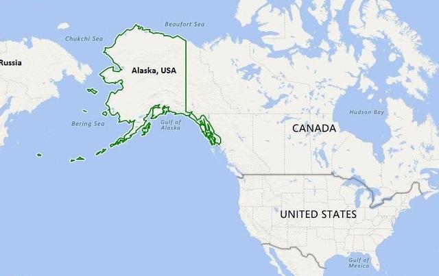 Alaska nằm tách biệt so với phần còn lại của lãnh thổ Mỹ. (Ảnh: Google Maps)