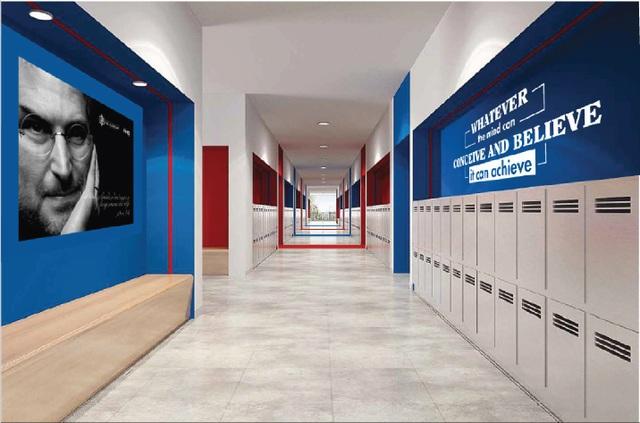 Phối cảnh hành lang lớp học Trường Song ngữ Quốc tế UK Academy (UKA) - IEC Quảng Ngãi.