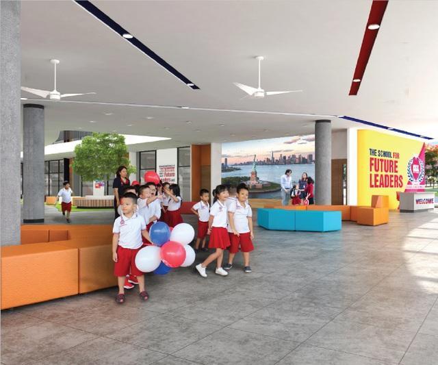 Phối cảnh sảnh Trường Hội nhập Quốc tế iSchool - IEC Quảng Ngãi.
