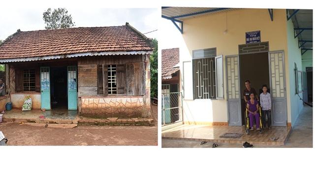 Căn nhà trước kia rách nát thì nay được xây dựng khang trang, chắc chắn