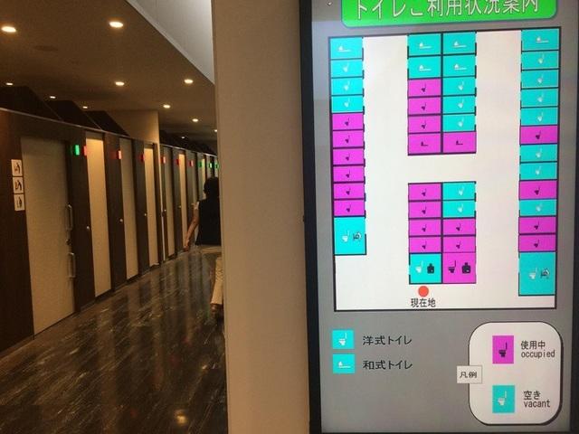 Hệ thống nhà vệ sinh công cộng thông minh có bảng chỉ dẫn rất rõ ràng để du khách biết được đâu là phòng trống, lựa chọn kiểu vệ sinh ngồi bệt hay ngồi xổm.