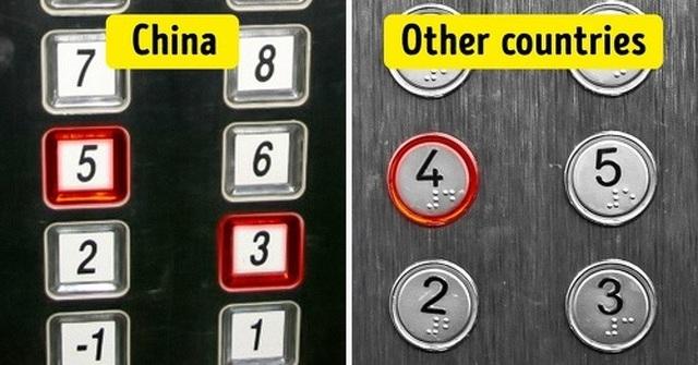 Bên trong thang máy hoặc các tòa nhà cao tầng ở TRung Quốc không xuất hiện số 4