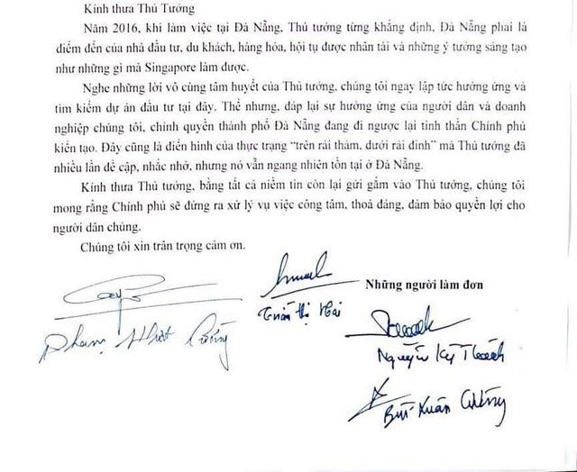 Một đoạn trong bức thư kêu cứu khẩn cấp lên Thủ tướng Nguyễn Xuân Phúc của 5 hộ dân bị TP Đà Nẵng hủy kết quả đấu giá.