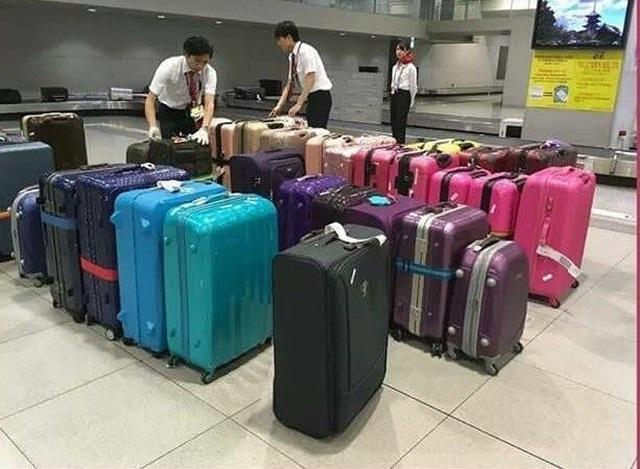 Nhân viên ở sân bay Nhật Bản xếp cẩn thận từng chiếc vali theo màu sắc.