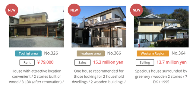 Một trang web quảng cáo nhà bỏ trống ở Nhật Bản (Ảnh: CNBC)