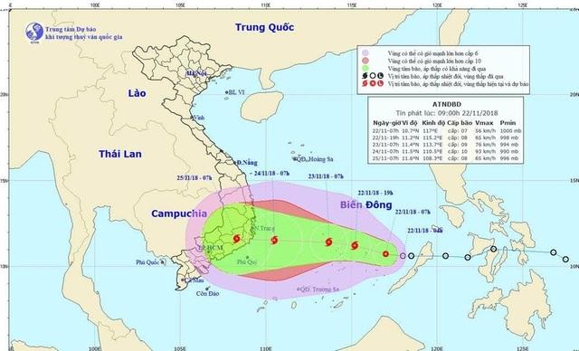 Đường đi dự báo của cơn bão số 9
